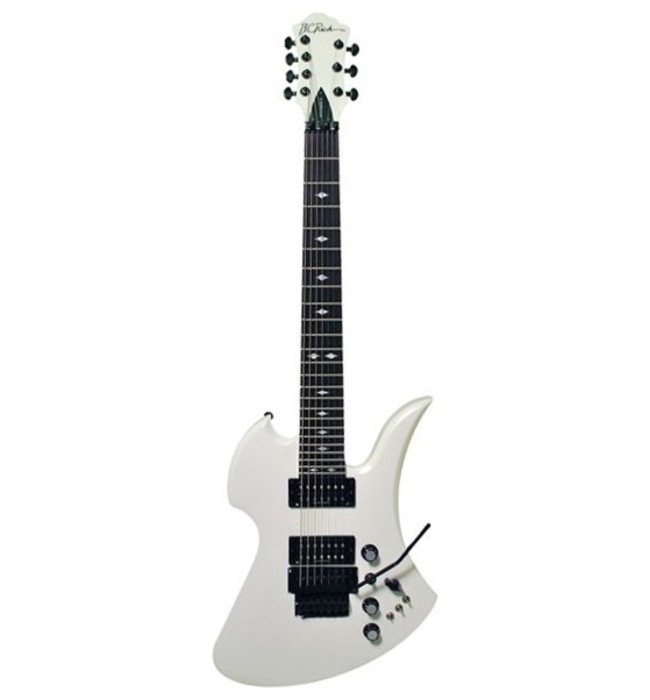 B.C.RICH MGST7PW  7-струнная электрогитара Slash Mockingbird ST Neck Thru, White