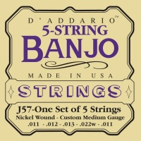 D'Addario J57 - струны для банджо, 5 String and Tenor Banjo/Custom Medium/Nickel